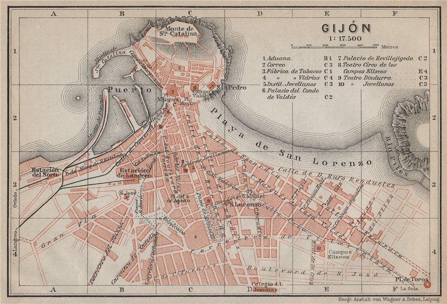 Associate Product GIJON GIJÓN antique town city ciudad plan. Spain España mapa. BAEDEKER 1913