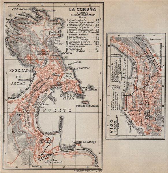 Associate Product LA CORUÑA & VIGO antique town city ciudad plans. Spain España mapa 1913
