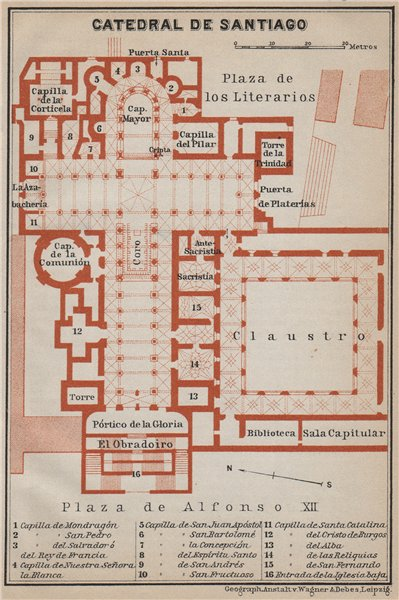 Associate Product CATHEDRAL OF /  CATEDRAL DE SANTIAGO floor plan. Spain España mapa 1913
