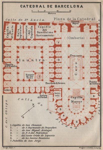 Associate Product CATHEDRAL OF / CATEDRAL DE BARCELONA floor plan. Spain España mapa 1913