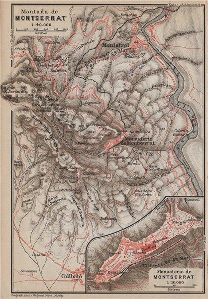 MONTAÑA & MONASTERIO DE MONTSERRAT. Topo-map. Spain España mapa 1913 old