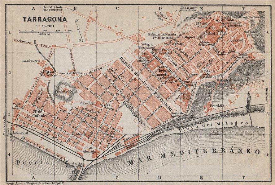 Associate Product TARRAGONA antique town city ciudad plan. Spain España mapa. BAEDEKER 1913