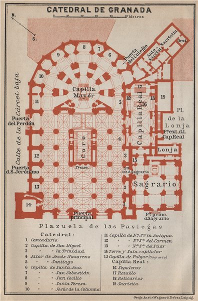 Associate Product CATHEDRAL OF / CATEDRAL DE GRANADA floor plan. Spain España mapa 1913 old
