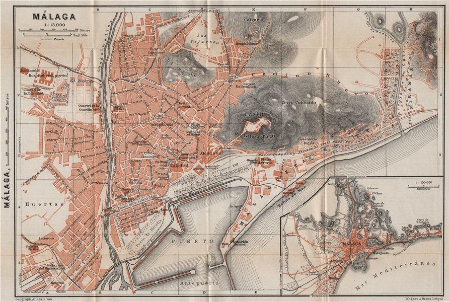 Associate Product MALAGA MÁLAGA town city ciudad plan & environs. Spain España mapa 1913 old