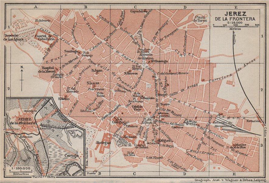 Associate Product JEREZ DE LA FRONTERA antique town city ciudad plan. Spain España mapa 1913