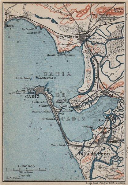 Associate Product BAHIA DE CADIZ. Puerto de Sta Maria. San Fernando. Cádiz Spain España 1913 map
