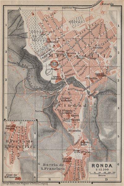 Associate Product RONDA antique town city ciudad plan. Spain España mapa. BAEDEKER 1913 old