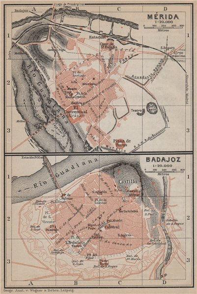 Associate Product MERIDA MÉRIDA & BADAJOZ town city ciudad plan. Spain España mapa 1913 old