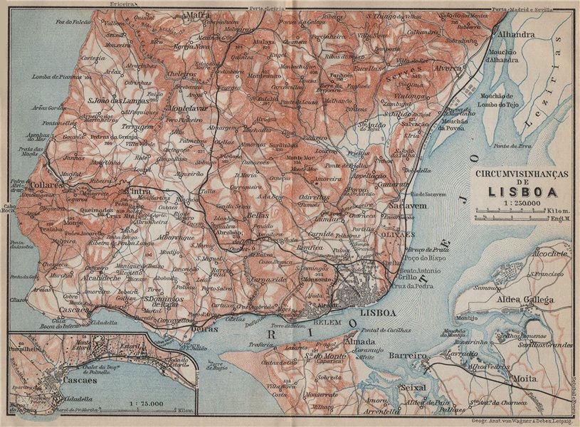 Associate Product LISBON LISBOA CIRCUMVISINHANÇAS environs. Cascais Sintra. Portugal 1913 map