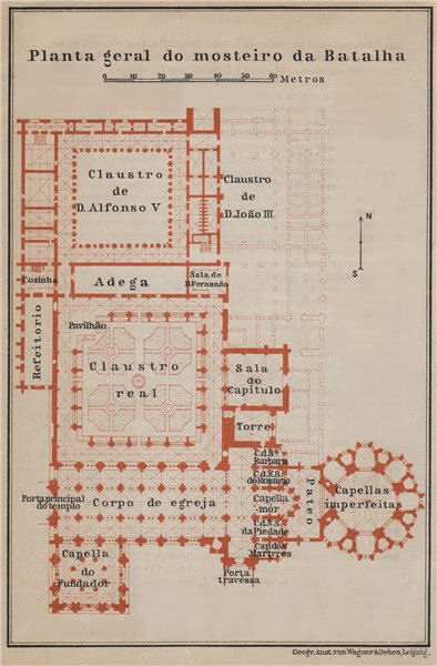 BATALHA MONASTERY. MOSTEIRO DA BATALHA floor plan. Portugal mapa 1913 old