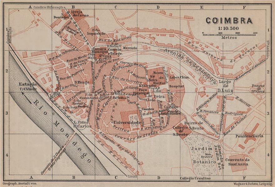 Associate Product COIMBRA antique town city plano de la cidade. Portugal mapa. BAEDEKER 1913