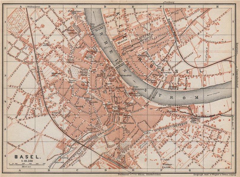 Associate Product BÂLE BASEL. Basle. town city stadtplan. Switzerland Suisse Schweiz 1889 map