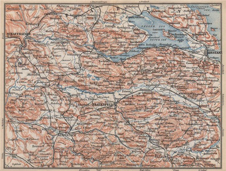 Associate Product SCHAFFHAUSEN to CONSTANCE. Konstanz Frauenfeld Zeller See Unter See 1889 map