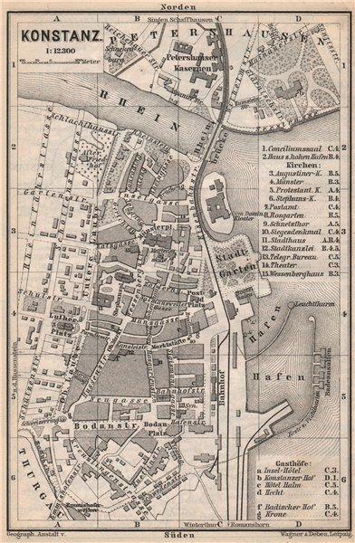 Associate Product CONSTANCE. KONSTANZ. town city stadtplan. Germany karte. BAEDEKER 1889 old map