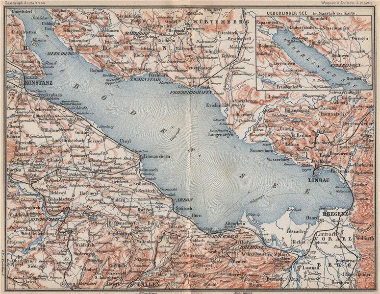 Associate Product LAKE CONSTANCE inset LINDAU. Konstanz St Gallen Bregenz. Topo-map 1889 old