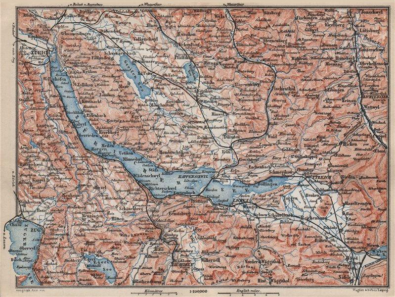 Associate Product LAKE ZÜRICH. Zuricher See Lachen Utznach.Topo-map. Switzerland Schweiz 1889