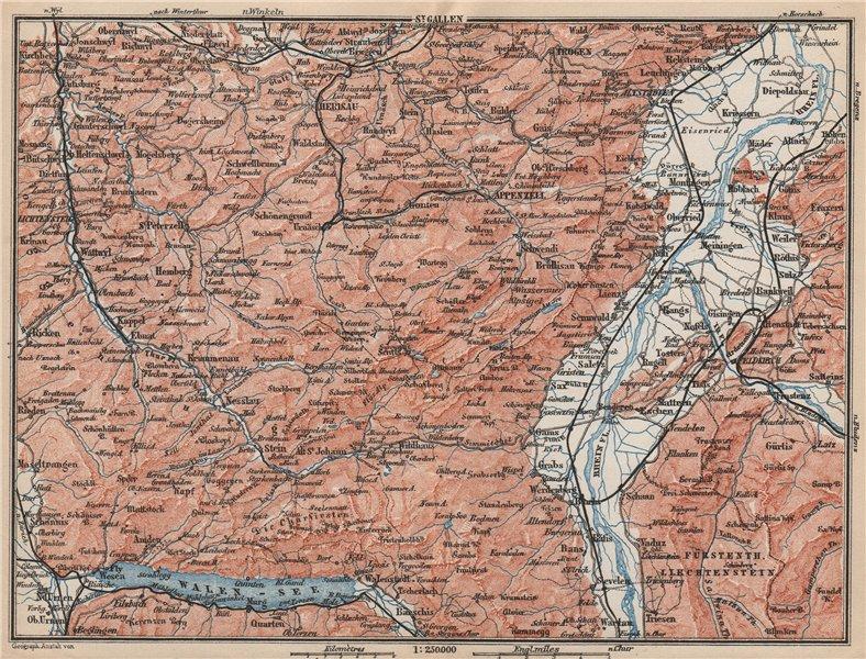 Associate Product APPENZELL CANTON. Wildhaus Unterwasser St. Gallen Trogen Walensee 1889 old map