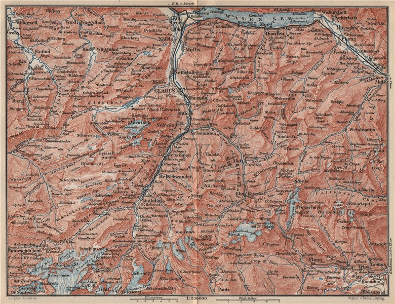 Associate Product GLARUS CANTON. Flums Braunwald Flims Näfels Walen See Linththal 1889 old map