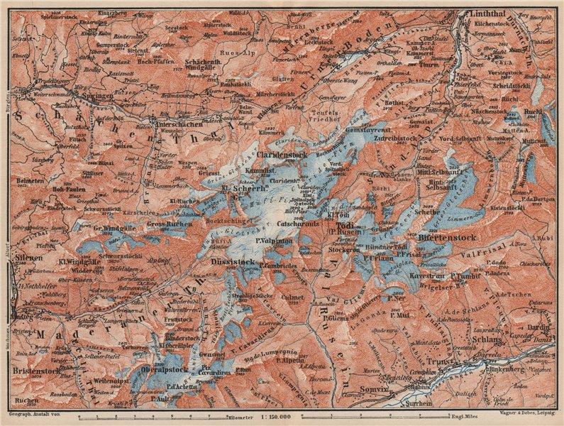 Associate Product TÖDI DISTRICT. Glarus Alps Linththal Bifertenstock Claridenstock 1889 old map