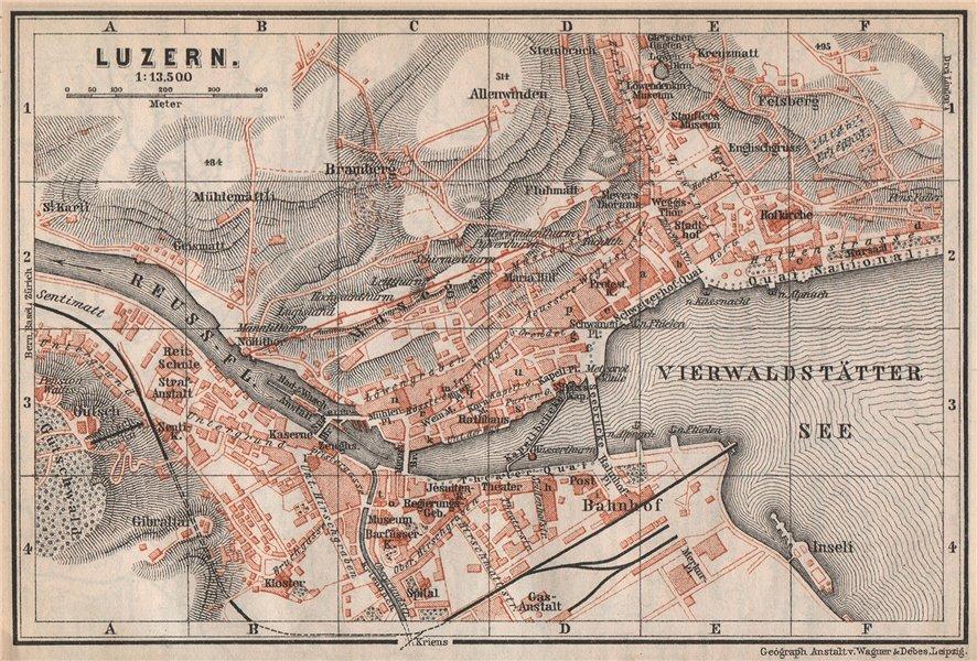 Associate Product LUCERNE LUZERN. town city stadtplan. Switzerland Suisse Schweiz 1889 old map