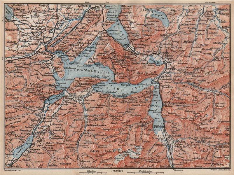 Associate Product LAKE LUCERNE. Vierwaldstättersee. Luzern Engelberg Sarnen Altorf Stanz 1889 map