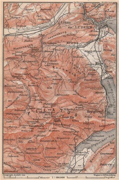 Associate Product PILATUS. Luzern Lucerne Kriens Alpnach Hergiswil. Topo-map. Schweiz 1889