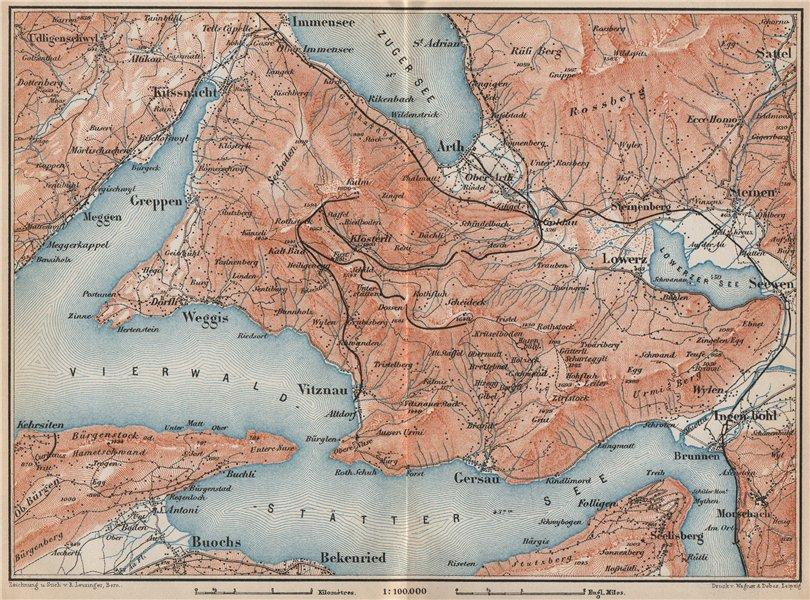 Associate Product THE RIGI. Vitznau Lowerz Immensee Arth Gersau Bekenried. Topo-map 1889 old