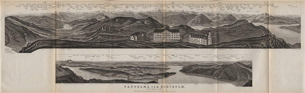 Associate Product PANORAMA from/von RIGIKULM 1800m. Küssnacht. Switzerland Schweiz 1889 old map