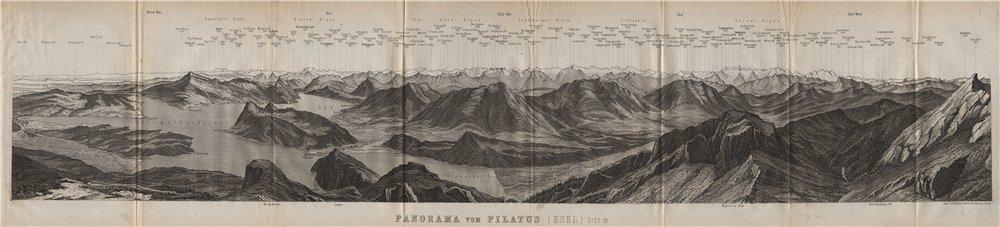 Associate Product PANORAMA from/von PILATUS. Vierwaldstättersee. Lake Lucerne. Schweiz 1889 map
