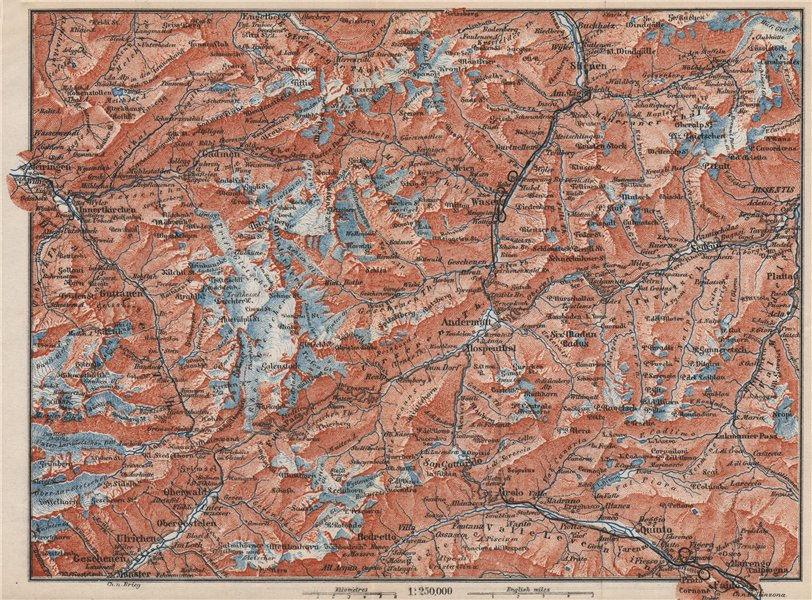 Associate Product ST GOTTHARD area. Andermatt Engelberg Silenen Gadmen Ulrichen Disentis 1889 map