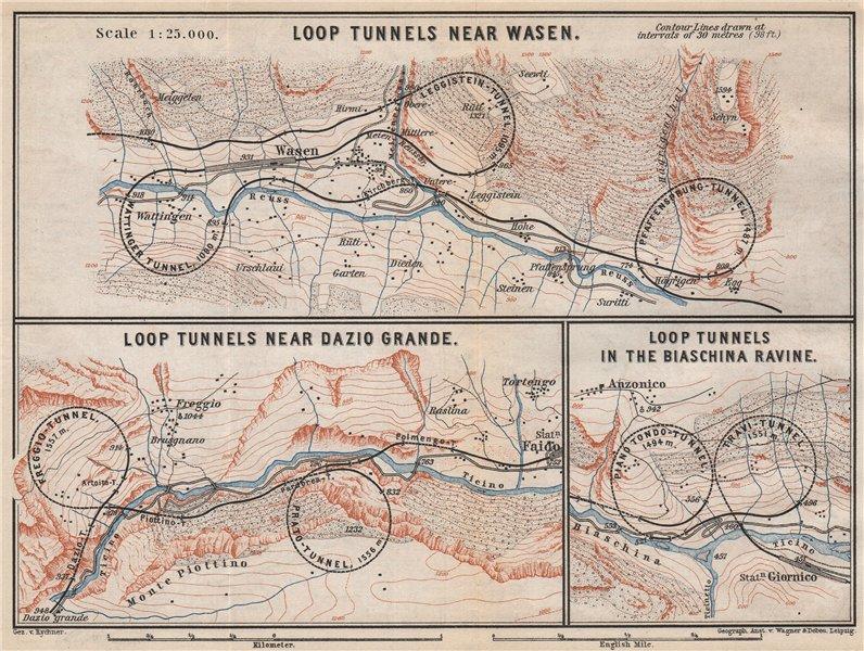 Associate Product ST GOTTHARD RAILWAY SPIRAL/LOOP TUNNELS Wassen Freggio Prato Biaschina 1889 map