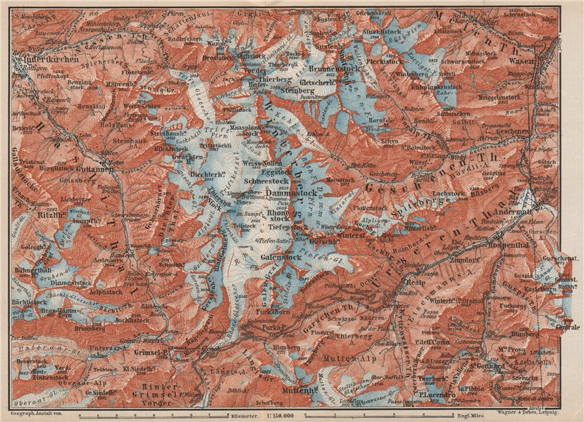 Associate Product URNER/URI ALPS. Trift district. Andermatt Innertkirchen Dammastock 1889 map