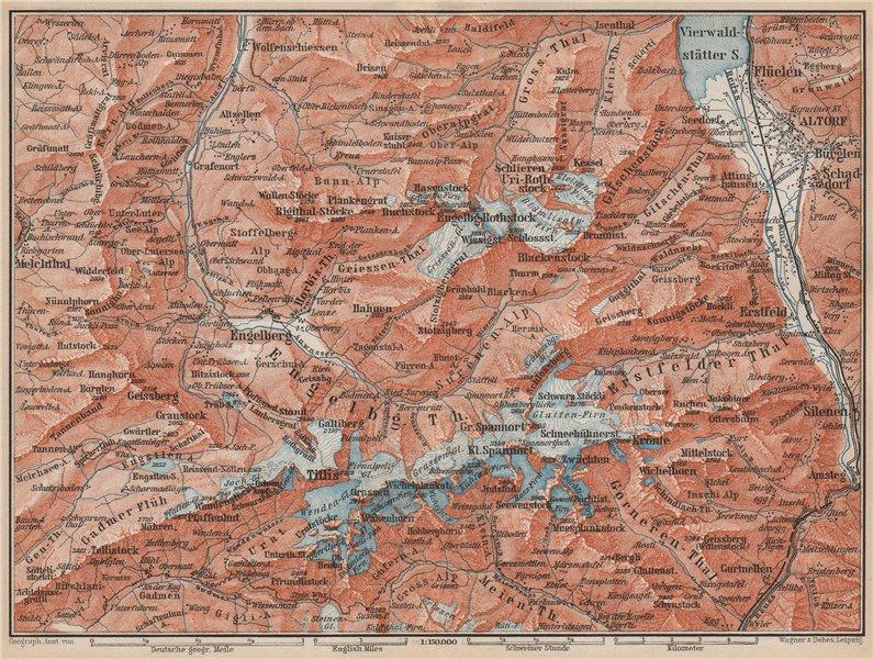 Associate Product ENGELBERG ENVIRONS. Uri/Urner Alps Titlis Blackenstock Sarnen Altorf 1889 map