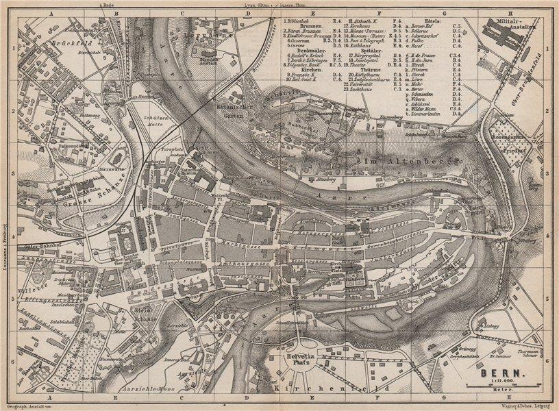Associate Product BERN BERNE. town city stadtplan. Switzerland Suisse Schweiz. BAEDEKER 1889 map