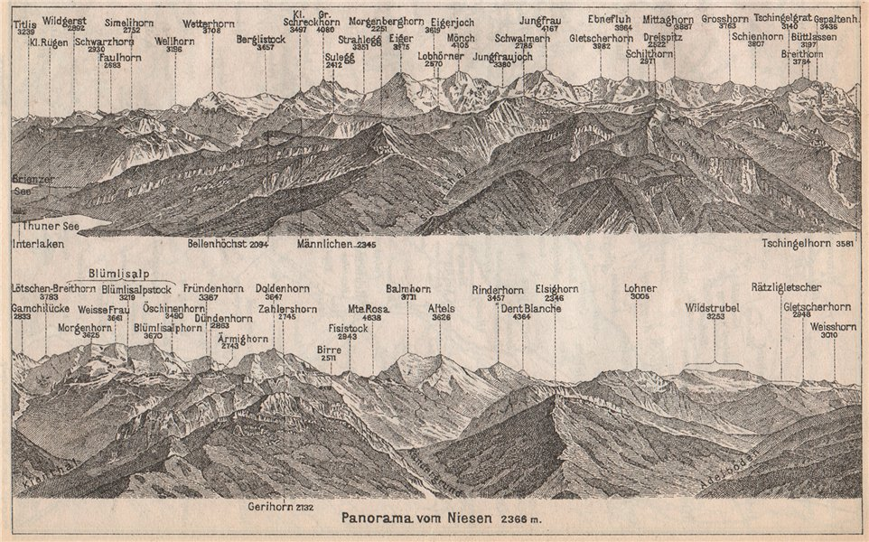 Associate Product PANORAMA from/von NIESEN 2366m. Blumisalp Jungfrau Switzerland Schweiz 1889 map