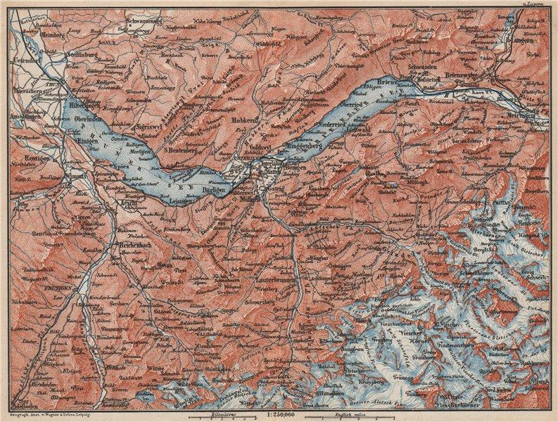 Associate Product BERNESE OBERLAND. Wengen Mürren Grundelwald Reutigen Interlaken Eiger 1889 map