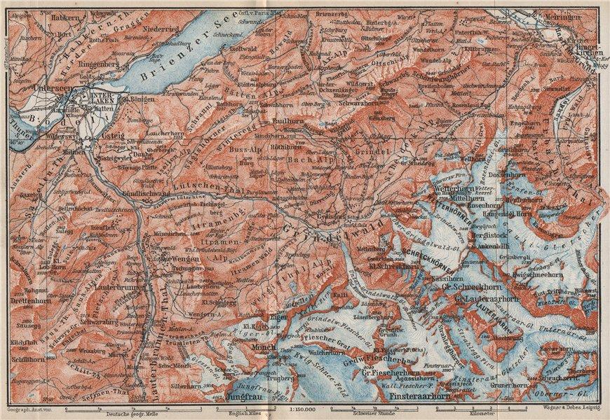 Associate Product GRINDELWALD environs. Wengen Mürren Jungfrau Wetterhorn Interlaken 1889 map