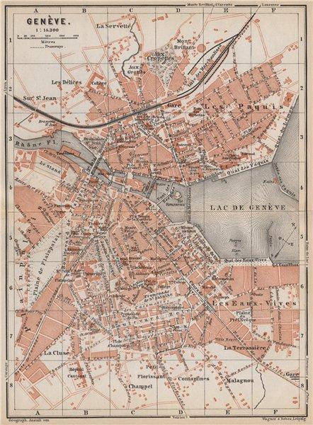 Associate Product GENEVA GENÈVE GENF. town city stadtplan. Switzerland Suisse Schweiz 1889 map