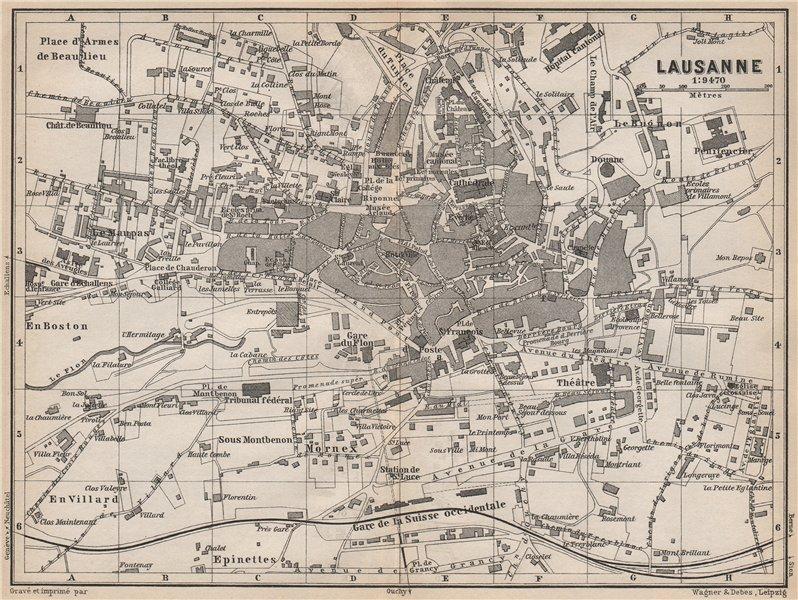 Associate Product LAUSANNE. town city stadtplan. Switzerland Suisse Schweiz carte karte 1889 map