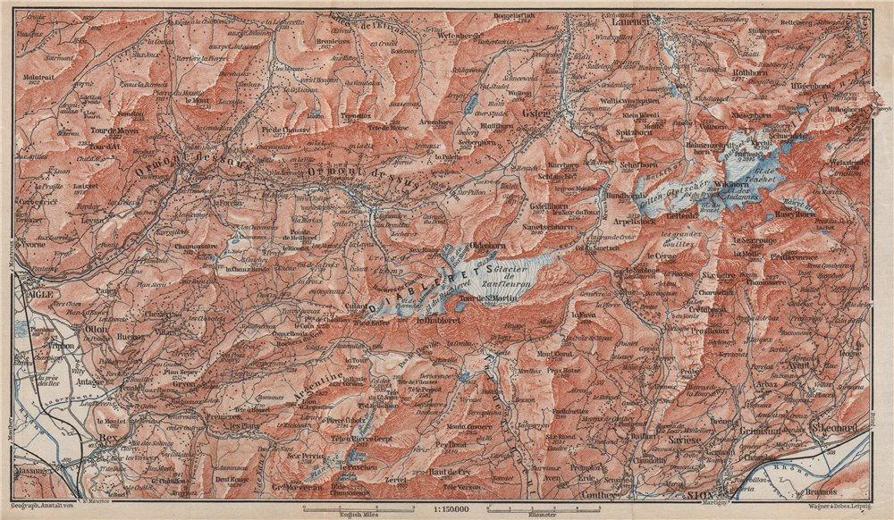 Associate Product AIGLE DISTRICT.Les Diablerets Villars Gryon Leysin Les Mosses Ormont 1889 map