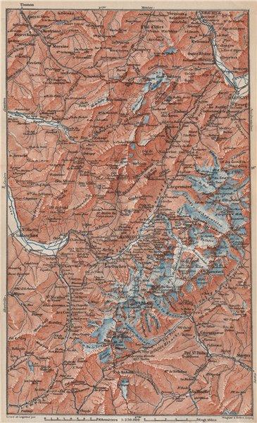 Associate Product MONT BLANC. Chamonix Courmayeur Argentière Morzine St Gervais Megève 1889 map