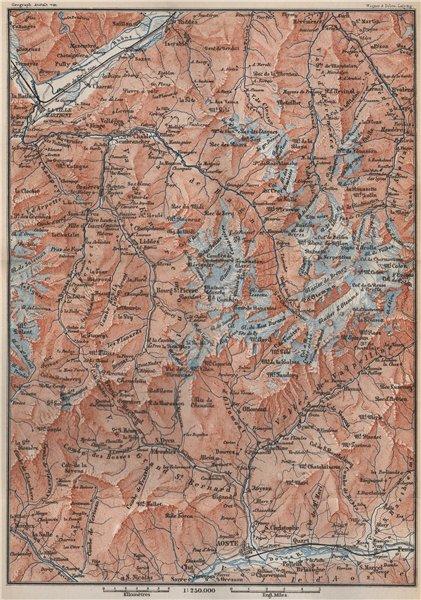Associate Product GRAND ST BERNARD AREA. Martigny-Aosta. Verbier Liddes Valais Topo-map 1889
