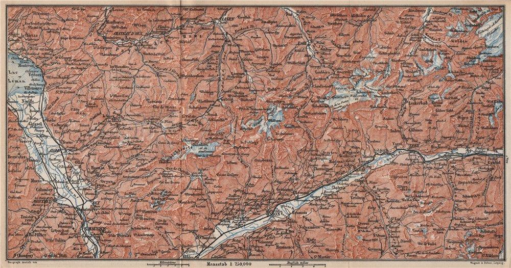 Associate Product RHONE VALLEY. Gryon Villars Leysin Diablerets Crans-Montana Gstaad 1889 map