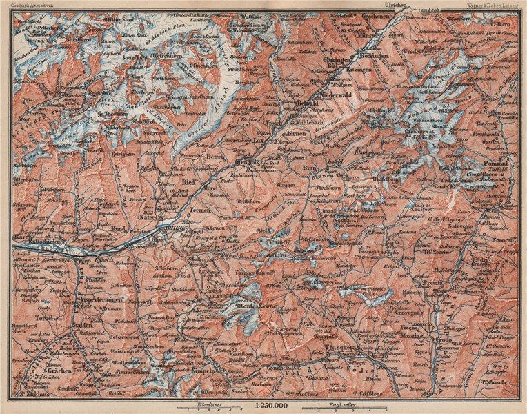 Associate Product UPPER VALAIS. Grächen Aletschhorn Ofenhorn Brieg Niederwald Ried Rhone 1889 map