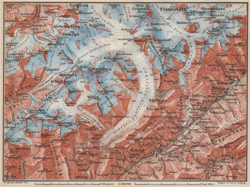 Associate Product ALETSCHHORN DISTRICT. Fiesch Mörel Jungfrau Nesthorn Grengiols 1889 old map