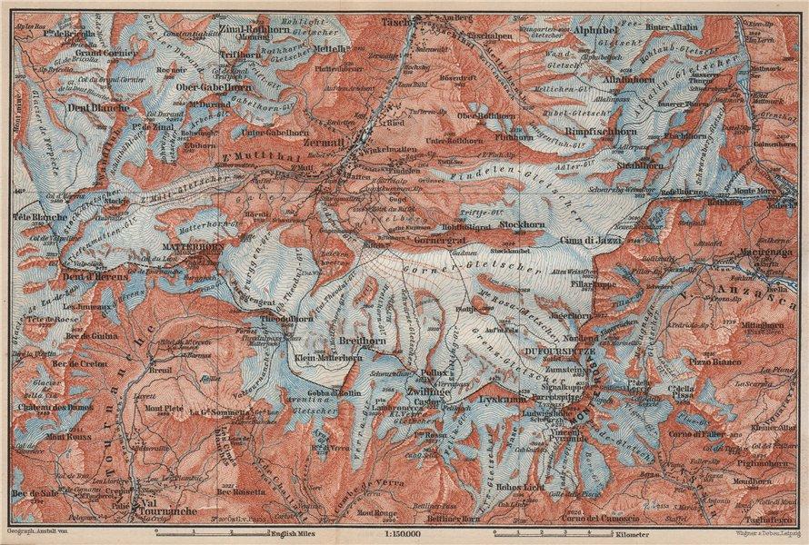 Associate Product ZERMATT ENVIRONS. Breuil-Cervinia Matterhorn Tournanche Monte Rosa 1889 map