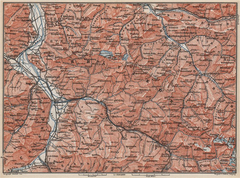 Associate Product BAD RAGAZ PRÄTIGAU MONTAFON ENVIRONS. Wangs Rätikon Bludenz Maienfeld 1889 map