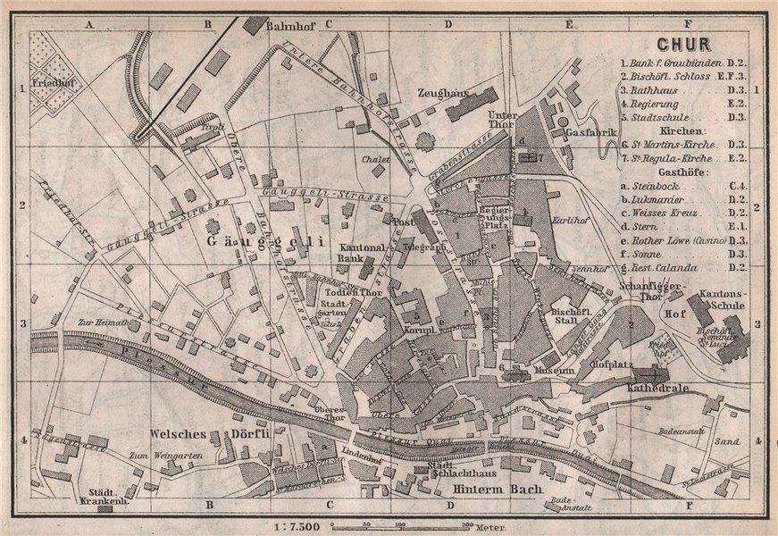Associate Product COIRE / CHUR. Chur. town city stadtplan. Switzerland Suisse Schweiz 1889 map