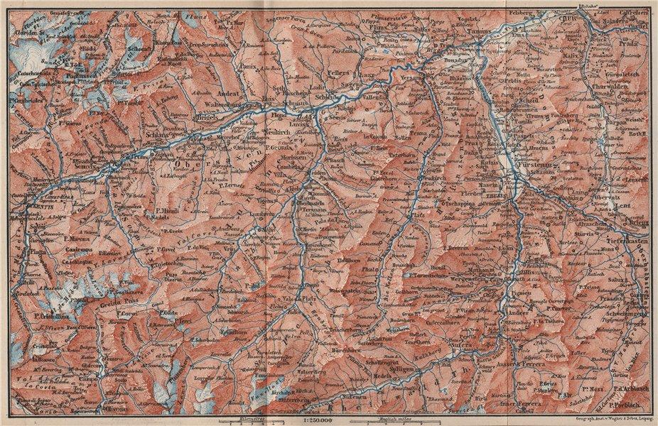 Associate Product VORDER-RHEINTHAL. Flims Laax Chur Obersaxen Tamins Brigels Thusis 1889 old map