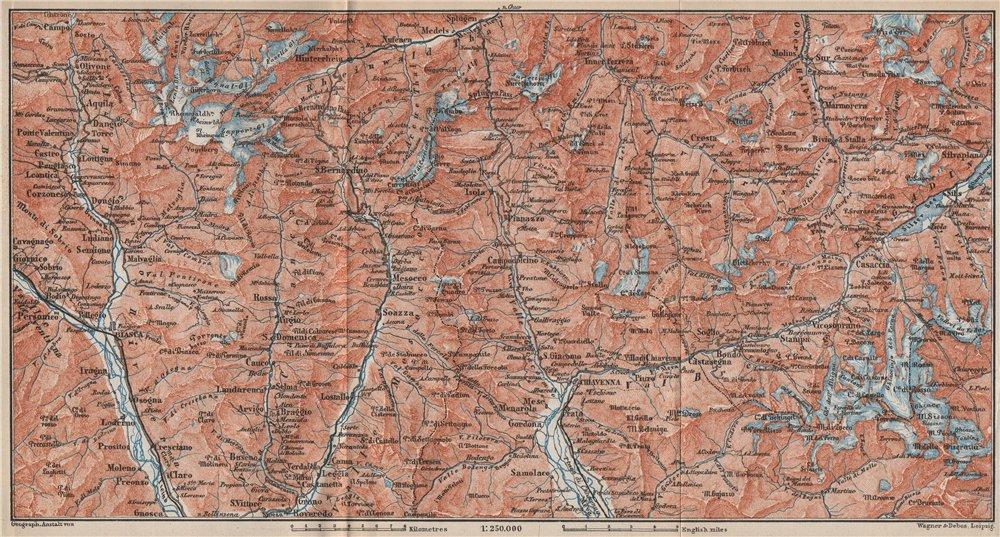 Associate Product LUKMANIER to MALOJA.Sils Maria Bivio Madesimo Chiavenna San Bernardino 1889 map